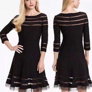 tadashi shoji XS Black Mid-length Mesh Dress